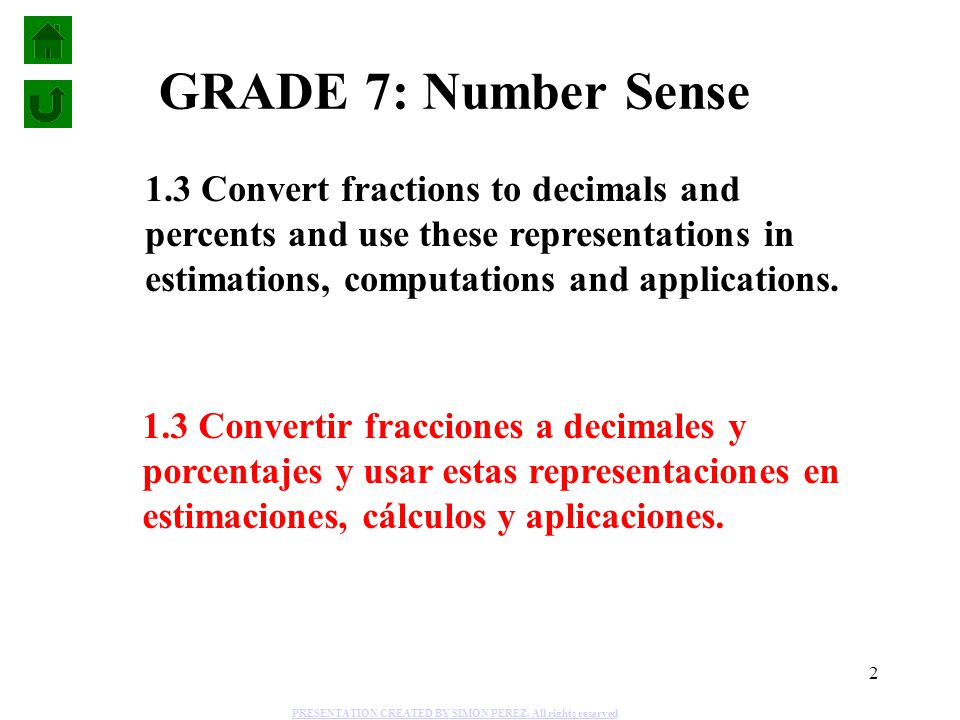 2 1.3 Convert fractions to decimals and percents and use these representations in estimations, computations and applications. 1.3 Convertir fracciones
