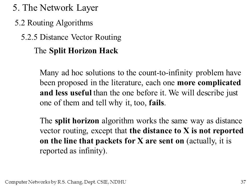 Computer Networks by R.S. Chang, Dept. CSIE, NDHU37 5. The Network Layer 5.2 Routing Algorithms 5.2.5 Distance Vector Routing The Split Horizon Hack M