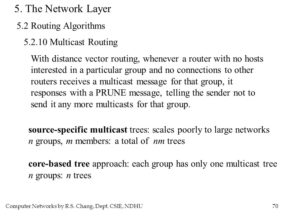Computer Networks by R.S. Chang, Dept. CSIE, NDHU70 5. The Network Layer 5.2 Routing Algorithms 5.2.10 Multicast Routing With distance vector routing,