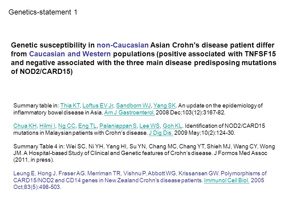 Genetic susceptibility in non-Caucasian Asian Crohn's disease patient differ from Caucasian and Western populations (positive associated with TNFSF15