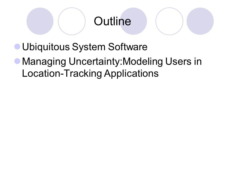 Outline Ubiquitous System Software Managing Uncertainty:Modeling Users in Location-Tracking Applications