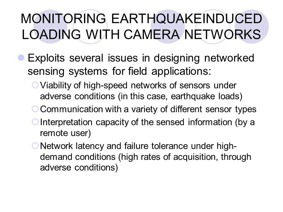 MONITORING EARTHQUAKEINDUCED LOADING WITH CAMERA NETWORKS Exploits several issues in designing networked sensing systems for field applications:  Viability of high-speed networks of sensors under adverse conditions (in this case, earthquake loads)  Communication with a variety of different sensor types  Interpretation capacity of the sensed information (by a remote user)  Network latency and failure tolerance under high- demand conditions (high rates of acquisition, through adverse conditions)