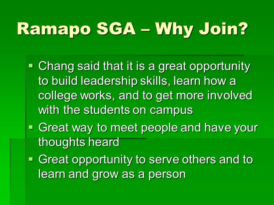 Ramapo SGA – Why Join.