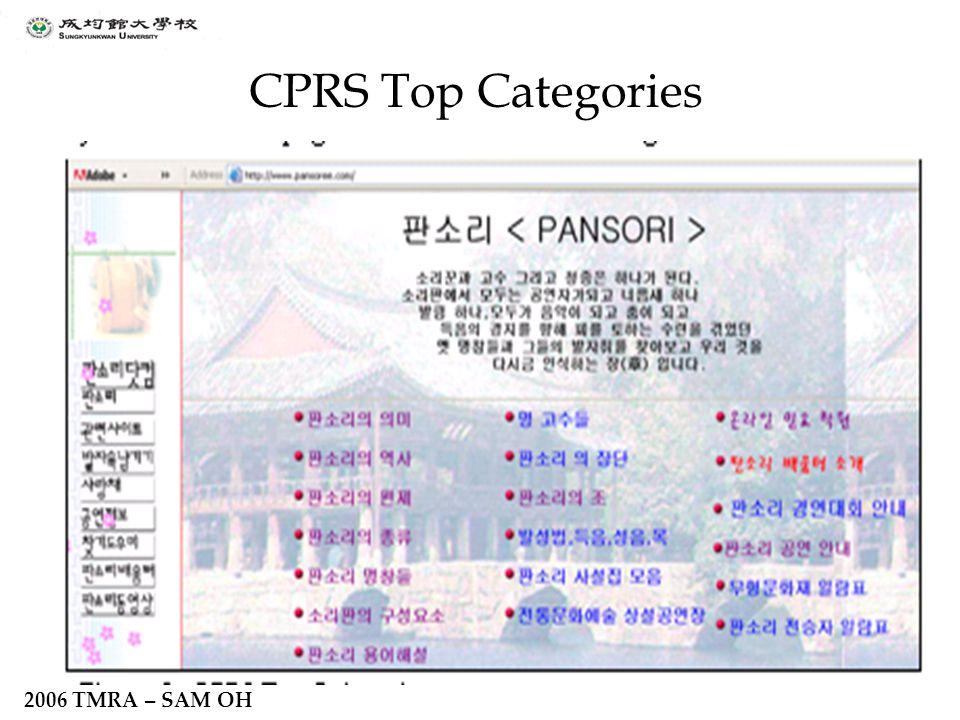 2006 TMRA – SAM OH CPRS Top Categories