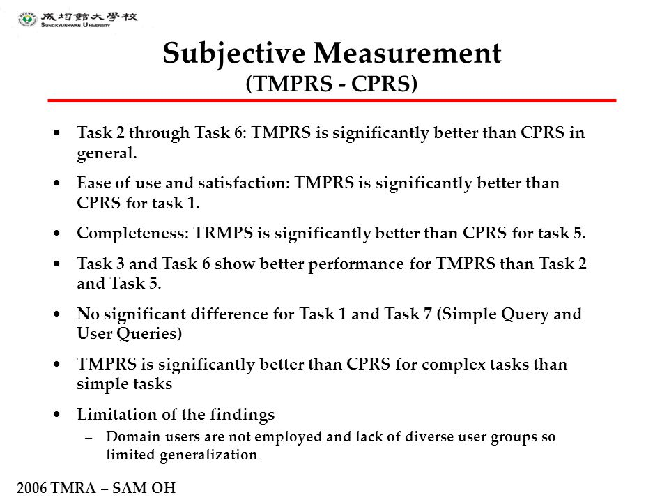 2006 TMRA – SAM OH Subjective Measurement (TMPRS - CPRS) Task 2 through Task 6: TMPRS is significantly better than CPRS in general. Ease of use and sa
