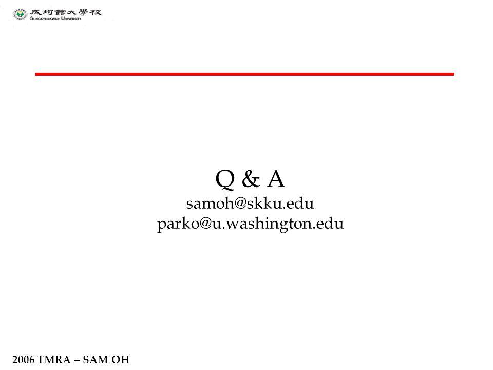 2006 TMRA – SAM OH Q & A samoh@skku.edu parko@u.washington.edu