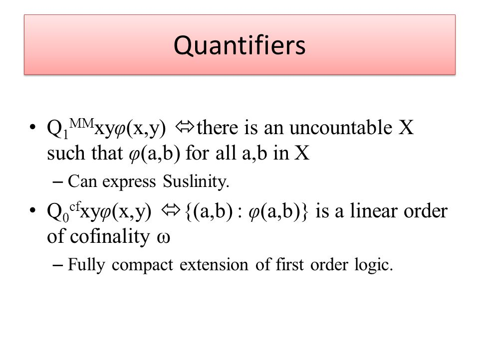 Quantifiers Q 1 MM xyφ(x,y)  there is an uncountable X such that φ(a,b) for all a,b in X – Can express Suslinity.