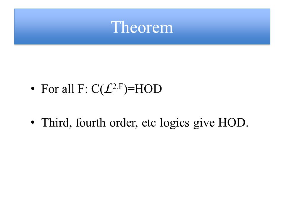 Theorem For all F: C( L 2,F )=HOD Third, fourth order, etc logics give HOD.