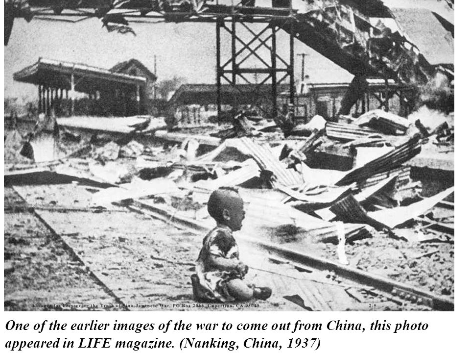 One of the earlier images of the war to come out from China, this photo appeared in LIFE magazine. (Nanking, China, 1937)