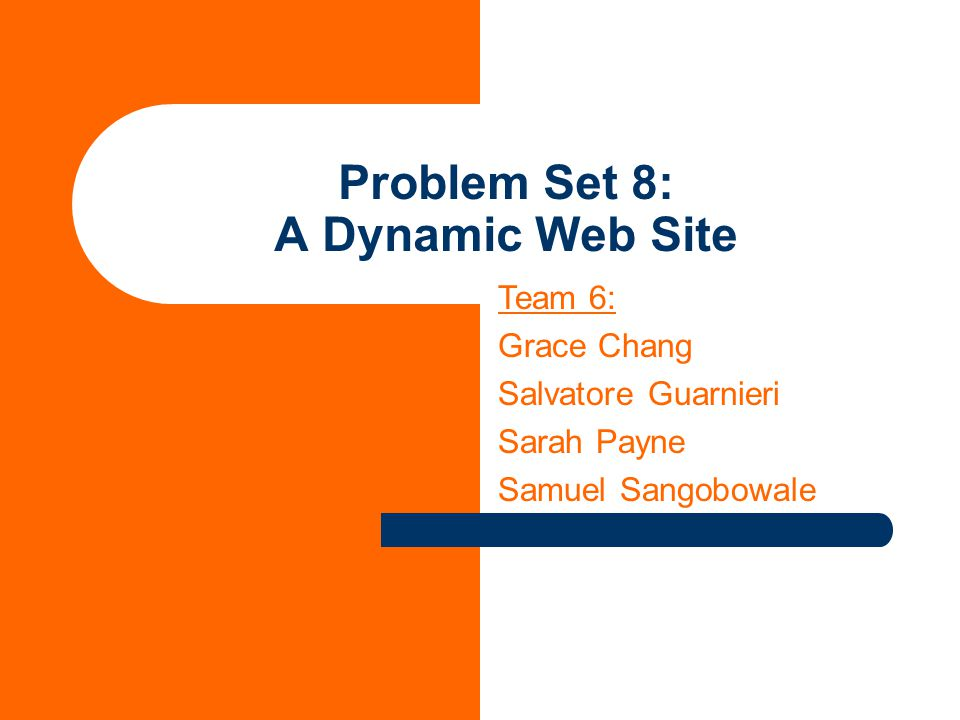 Problem Set 8: A Dynamic Web Site Team 6: Grace Chang Salvatore Guarnieri Sarah Payne Samuel Sangobowale