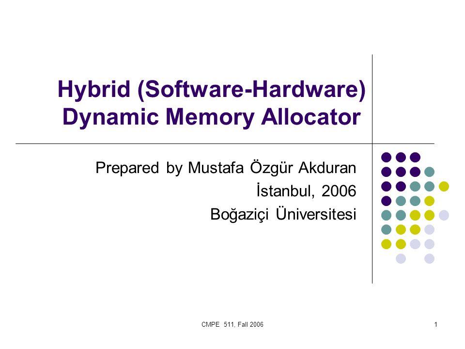 CMPE 511, Fall 20061 Hybrid (Software-Hardware) Dynamic Memory Allocator Prepared by Mustafa Özgür Akduran İstanbul, 2006 Boğaziçi Üniversitesi
