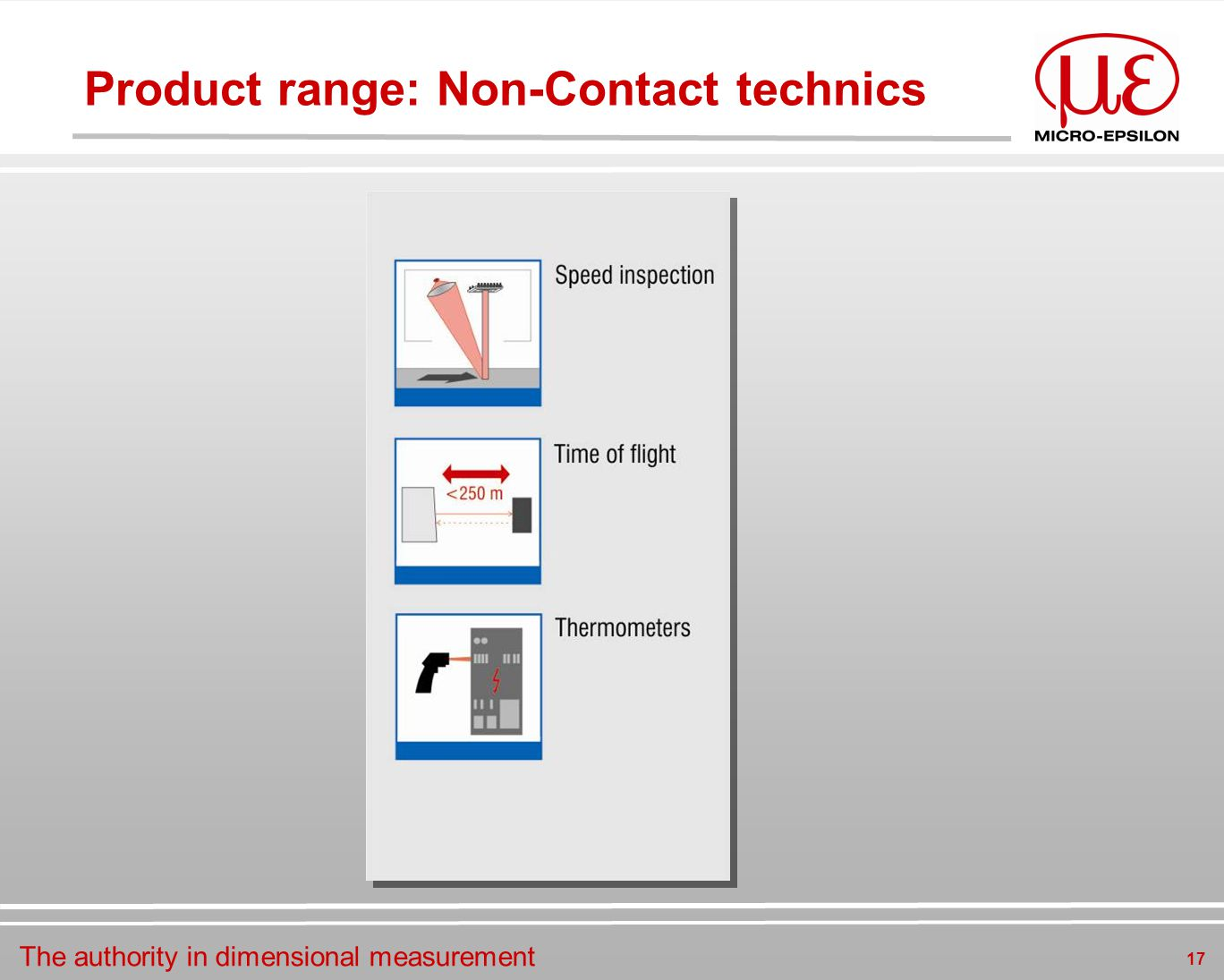 The authority in dimensional measurement 17 Product range: Non-Contact technics