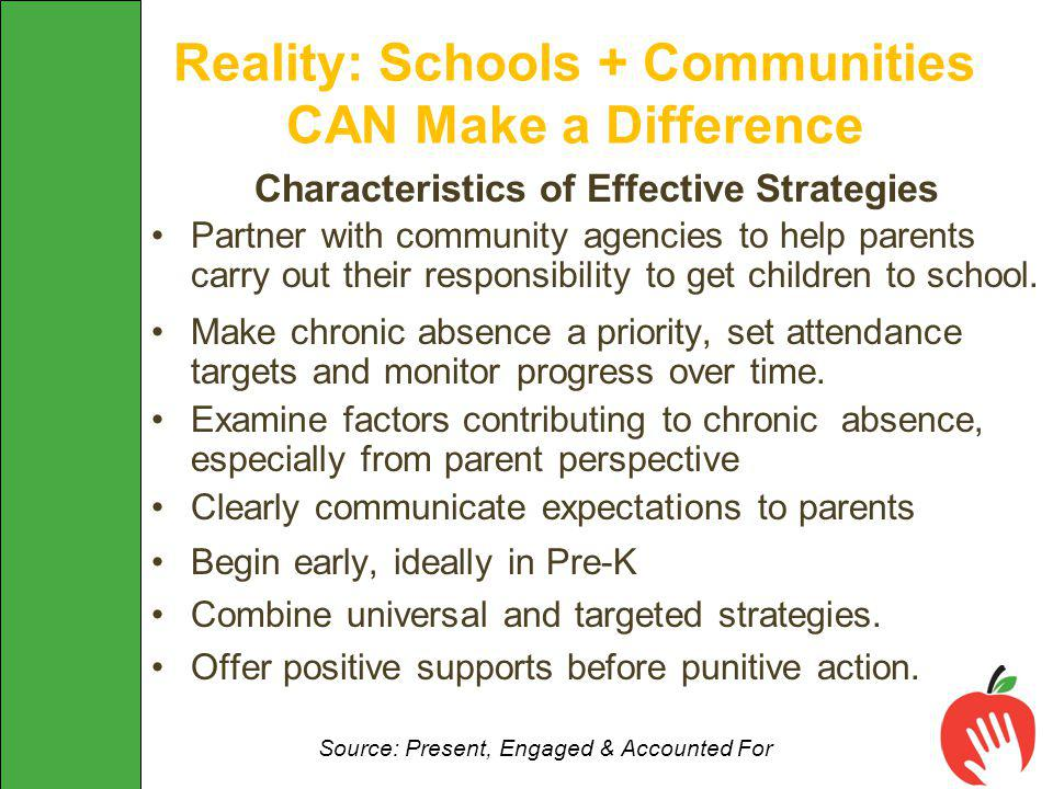 Characteristics of Effective Strategies Partner with community agencies to help parents carry out their responsibility to get children to school.