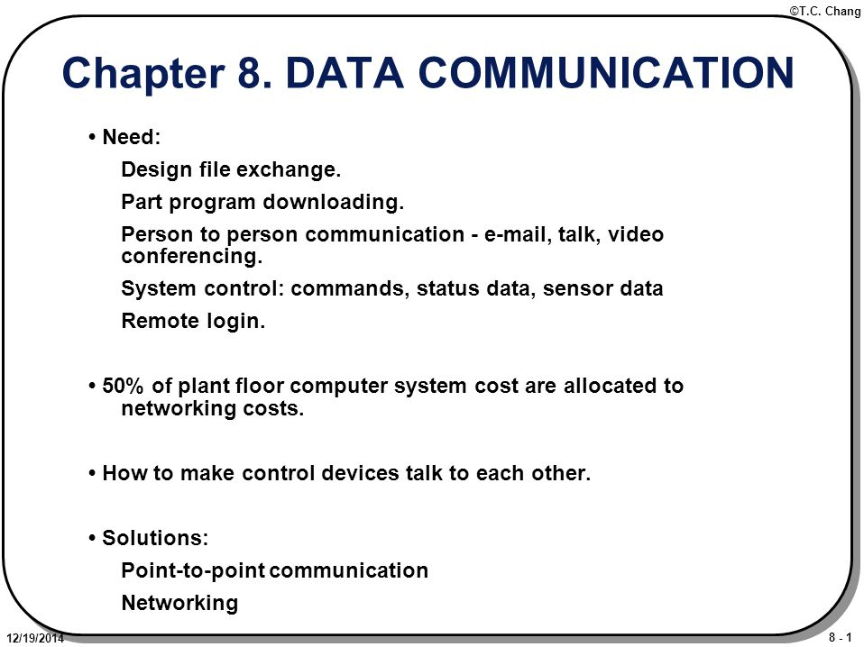 8 - 1 ©T.C. Chang 12/19/2014 Chapter 8. DATA COMMUNICATION Need: Design file exchange.