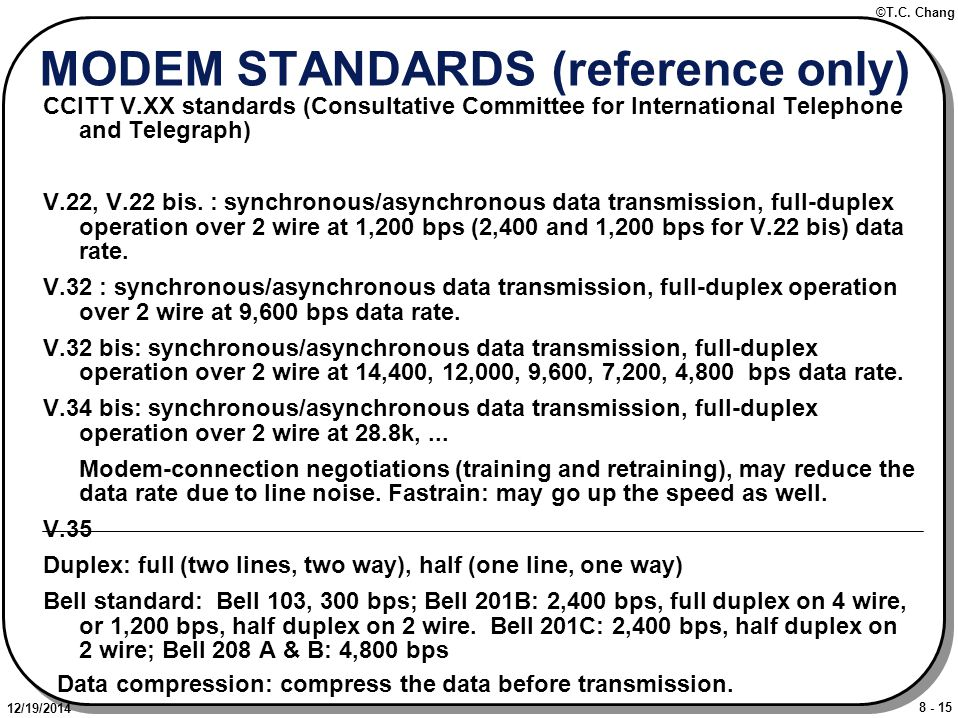 8 - 15 ©T.C. Chang 12/19/2014 MODEM STANDARDS (reference only) CCITT V.XX standards (Consultative Committee for International Telephone and Telegraph)