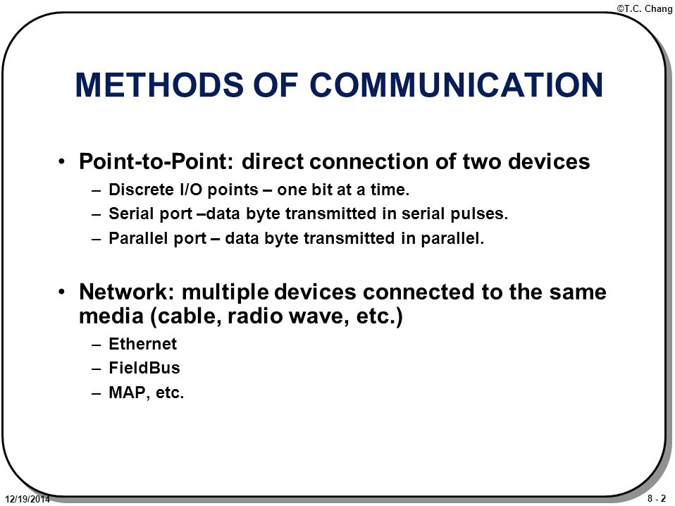 8 - 23 ©T.C.Chang 12/19/2014 NETWORKS No longer a point-to-point connection.