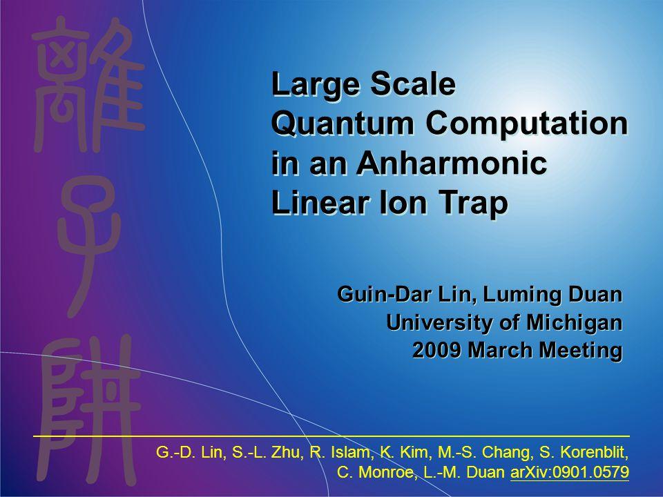 Guin-Dar Lin, Luming Duan University of Michigan 2009 March Meeting G.-D. Lin, S.-L. Zhu, R. Islam, K. Kim, M.-S. Chang, S. Korenblit, C. Monroe, L.-M