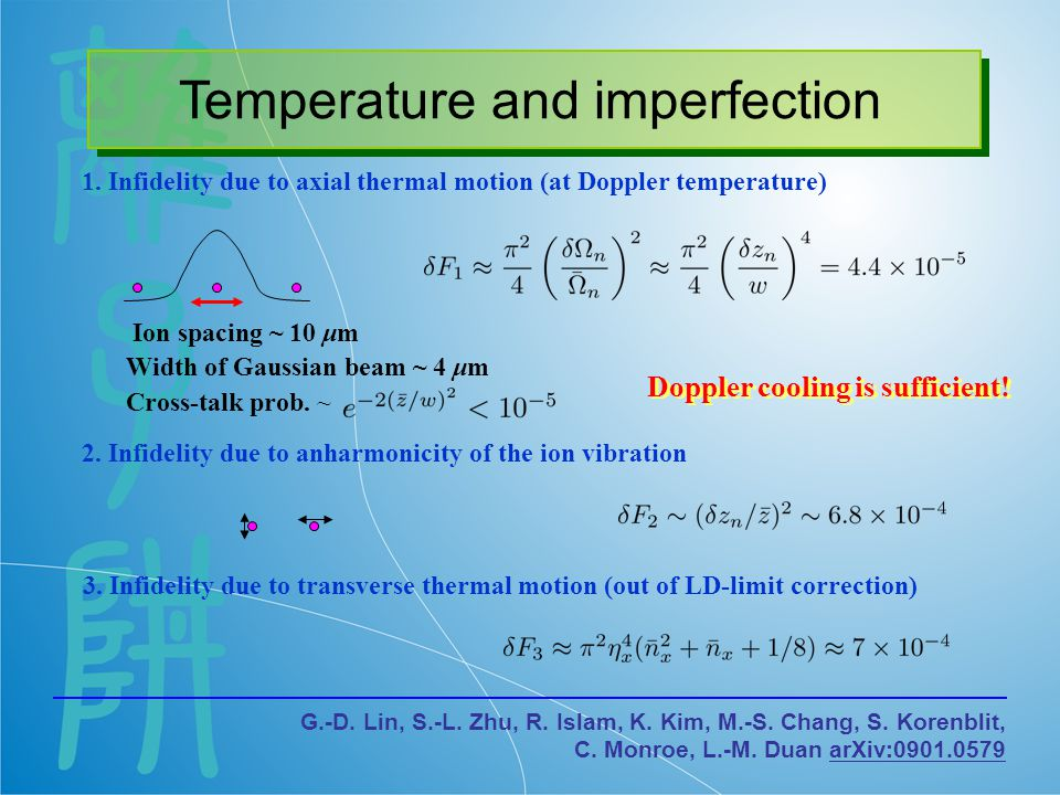 Temperature and imperfection 1.Infidelity due to axial thermal motion (at Doppler temperature) 2.