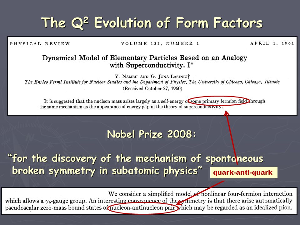 The Q 2 Evolution of Form Factors Nobel Prize 2008: Nobel Prize 2008: for the discovery of the mechanism of spontaneous for the discovery of the mechanism of spontaneous broken symmetry in subatomic physics broken symmetry in subatomic physics Nobel Prize 2008: Nobel Prize 2008: for the discovery of the mechanism of spontaneous for the discovery of the mechanism of spontaneous broken symmetry in subatomic physics broken symmetry in subatomic physics quark-anti-quark
