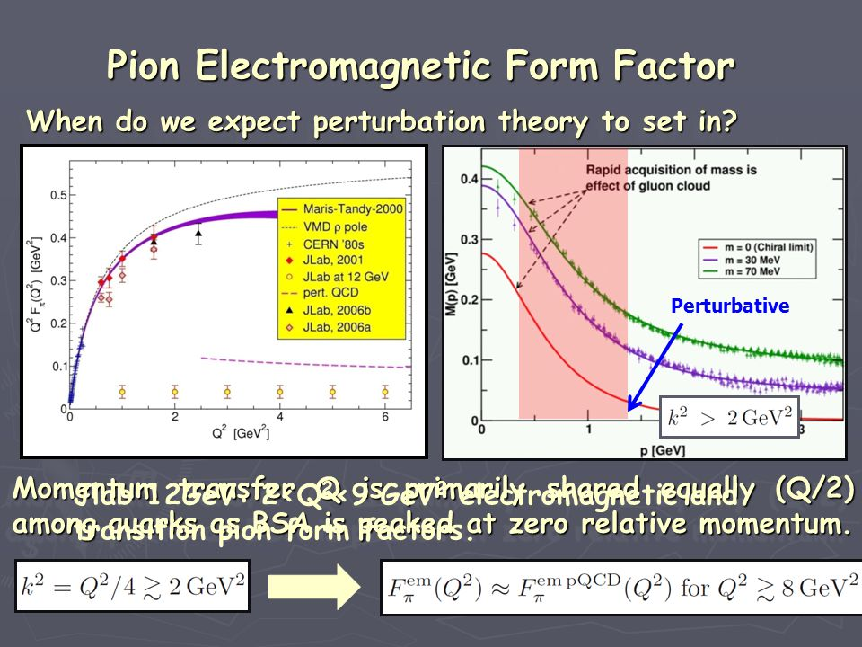 When do we expect perturbation theory to set in? When do we expect perturbation theory to set in? When do we expect perturbation theory to set in? Whe