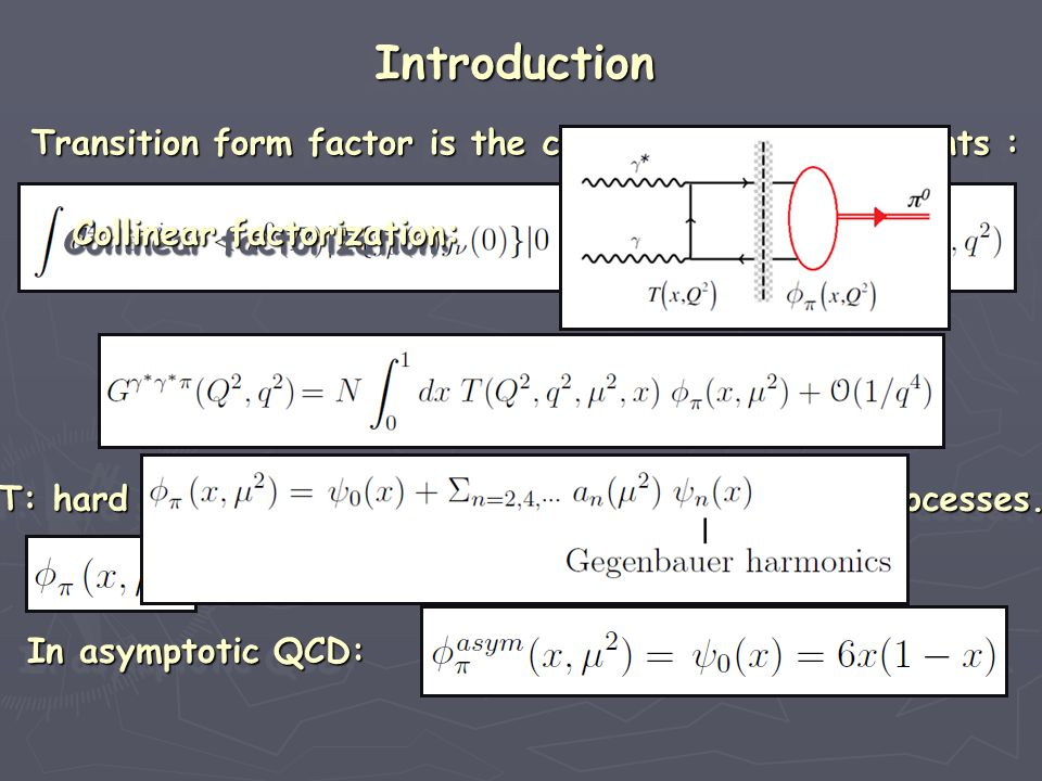 Introduction Hadronic form factors are intimately related to their Hadronic form factors are intimately related to their internal structure.