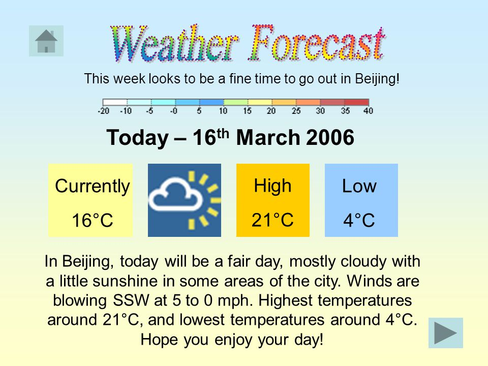This week looks to be a fine time to go out in Beijing.
