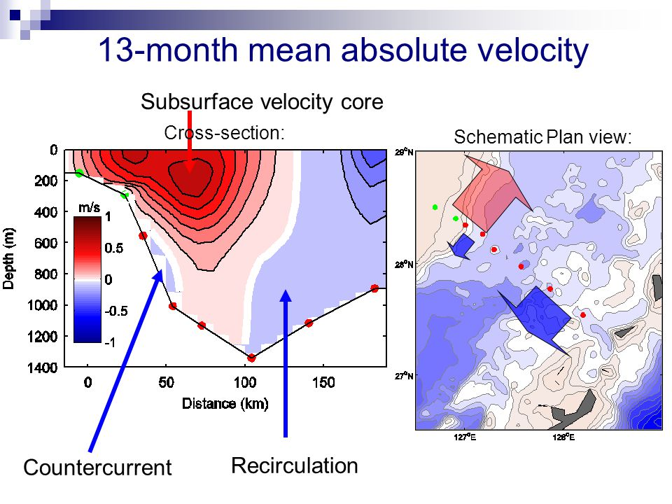 Recirculation Subsurface velocity core 13-month mean absolute velocity Countercurrent Schematic Plan view: Cross-section: