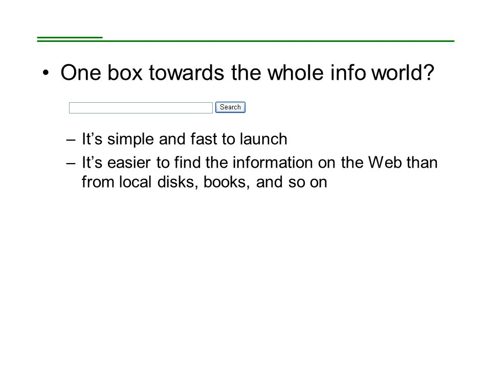 One box towards the whole info world.