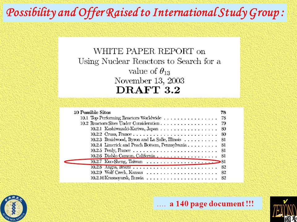 Possibility and Offer Raised to International Study Group : …. a 140 page document !!!