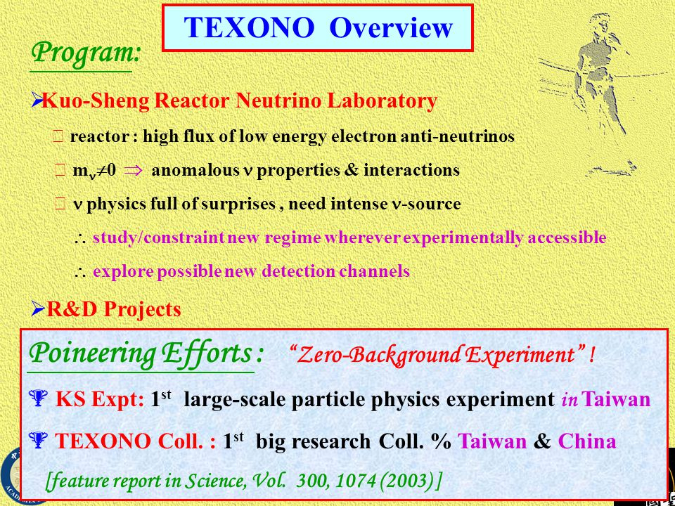 TEXONO Overview Poineering Efforts : Zero-Background Experiment .
