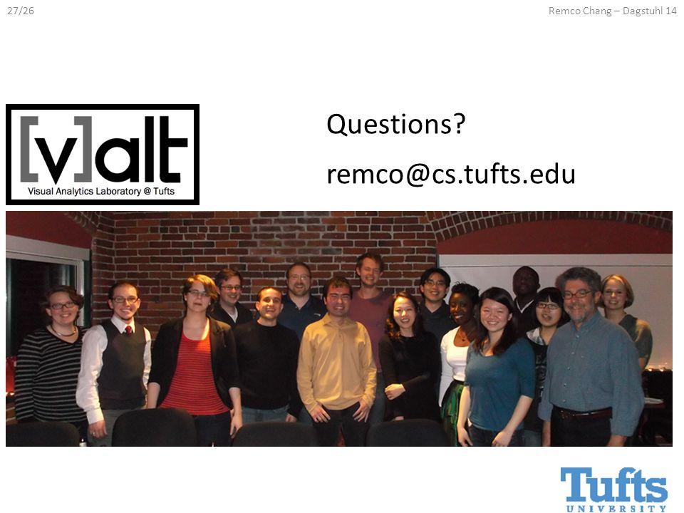 27/26Remco Chang – Dagstuhl 14 Questions remco@cs.tufts.edu