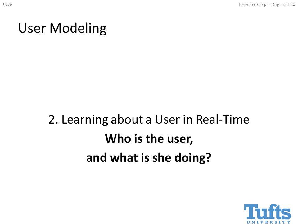 9/26Remco Chang – Dagstuhl 14 User Modeling 2.