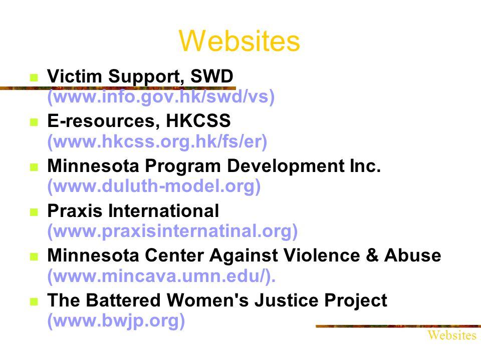 Websites Victim Support, SWD (www.info.gov.hk/swd/vs) E-resources, HKCSS (www.hkcss.org.hk/fs/er) Minnesota Program Development Inc.