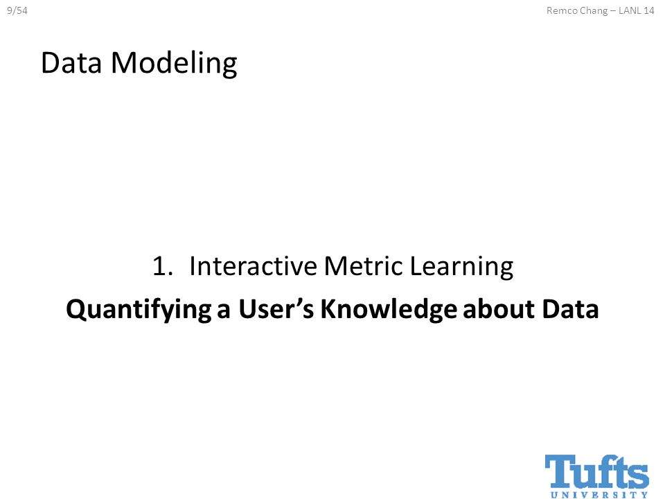 9/54Remco Chang – LANL 14 Data Modeling 1.Interactive Metric Learning Quantifying a User's Knowledge about Data