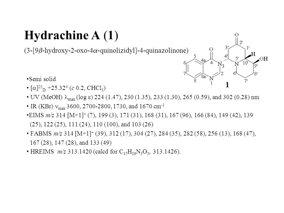 Hydrachine A (1) (3-[9  -hydroxy-2-oxo-4  -quinolizidyl]-4-quinazolinone) Semi solid [  ] 25 D +25.32  (c 0.2, CHCl 3 ) UV (MeOH) max (log  ) 224 (1.47), 230 (1.35), 233 (1.30), 265 (0.59), and 302 (0.28) nm IR (KBr) max 3600, 2700-2800, 1730, and 1670 cm -1 EIMS m/z 314 [M+1] + (7), 199 (3), 171 (31), 168 (31), 167 (96), 166 (84), 149 (42), 139 (25), 122 (25), 111 (24), 110 (100), and 103 (26) FABMS m/z 314 [M+1] + (39), 312 (17), 304 (27), 284 (35), 282 (58), 256 (13), 168 (47), 167 (28), 147 (28), and 133 (49) HREIMS m/z 313.1420 (calcd for C 17 H 19 N 3 O 3, 313.1426).