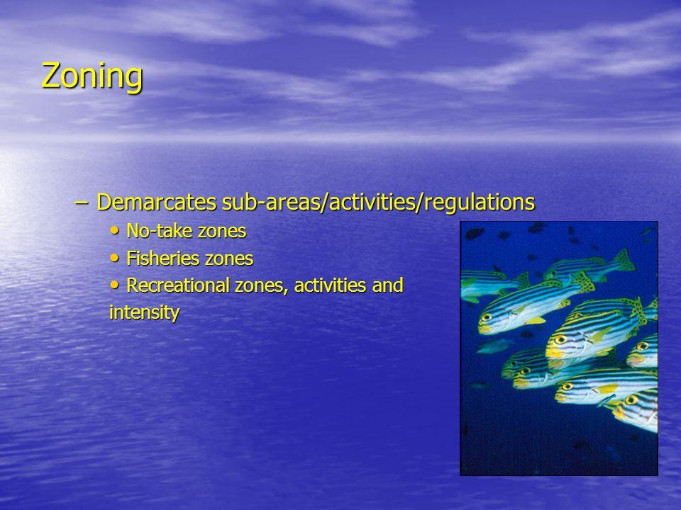 Zoning –Demarcates sub-areas/activities/regulations No-take zones No-take zones Fisheries zones Fisheries zones Recreational zones, activities and Rec