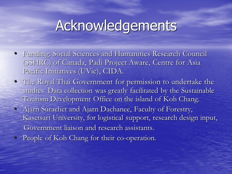 Acknowledgements Funding: Social Sciences and Humanities Research Council (SSHRC) of Canada, Padi Project Aware, Centre for Asia Pacific Initiatives (UVic), CIDA.