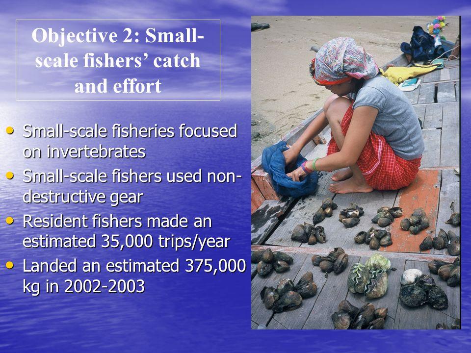 Small-scale fisheries focused on invertebrates Small-scale fisheries focused on invertebrates Small-scale fishers used non- destructive gear Small-sca