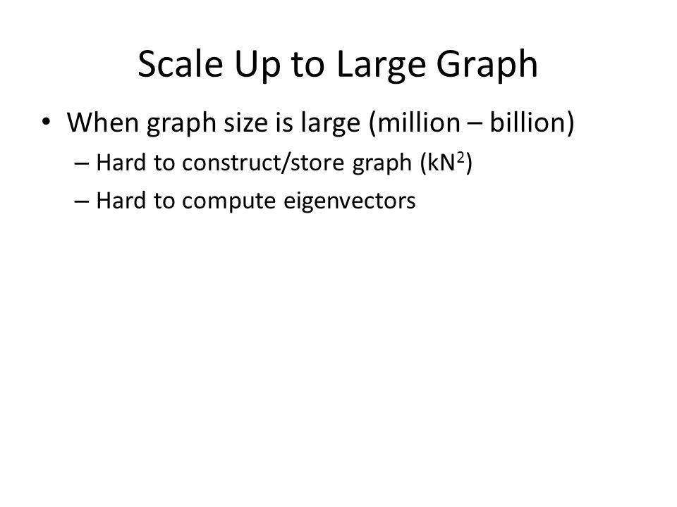 Scale Up to Large Graph When graph size is large (million – billion) – Hard to construct/store graph (kN 2 ) – Hard to compute eigenvectors