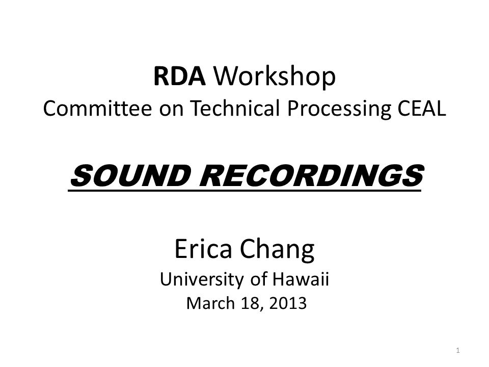 Scope Main focus: Musical Sound Recording Compact Disc Traditional/folk, popular, jazz music of East Asian countries Descriptive cataloging Deciding Preferred Access point Added Access points Relationship designators incorporating MLA (Music Library Association) Best Practices for Music Cataloging: using RDA and MARC 21 excludes Fixed Fields, Subject Headings 2