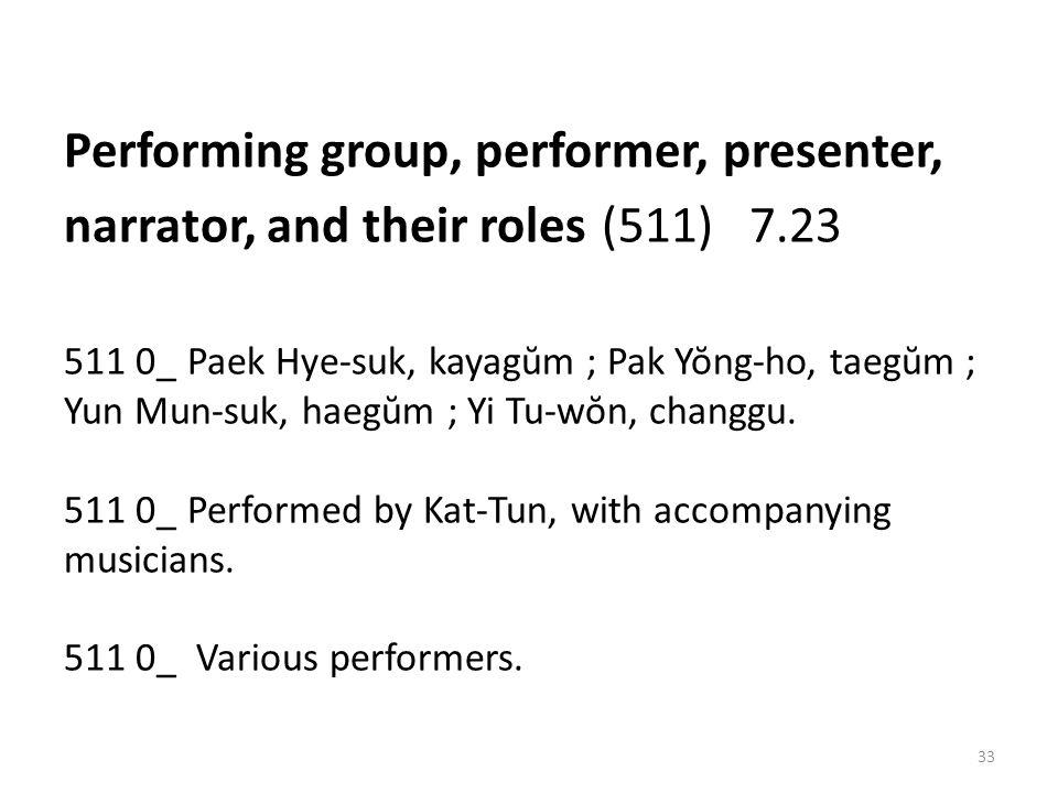 Performing group, performer, presenter, narrator, and their roles (511) 7.23 511 0_ Paek Hye-suk, kayagŭm ; Pak Yŏng-ho, taegŭm ; Yun Mun-suk, haegŭm