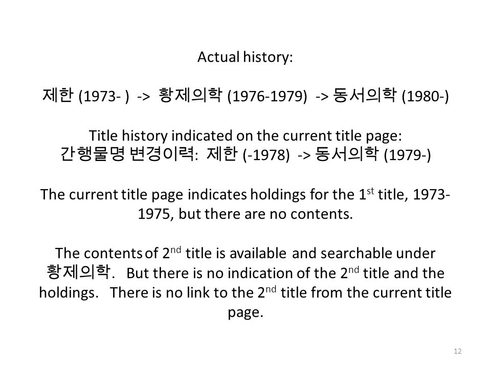 Actual history: 제한 (1973- ) -> 황제의학 (1976-1979) -> 동서의학 (1980-) Title history indicated on the current title page: 간행물명 변경이력 : 제한 (-1978) -> 동서의학 (1979-) The current title page indicates holdings for the 1 st title, 1973- 1975, but there are no contents.