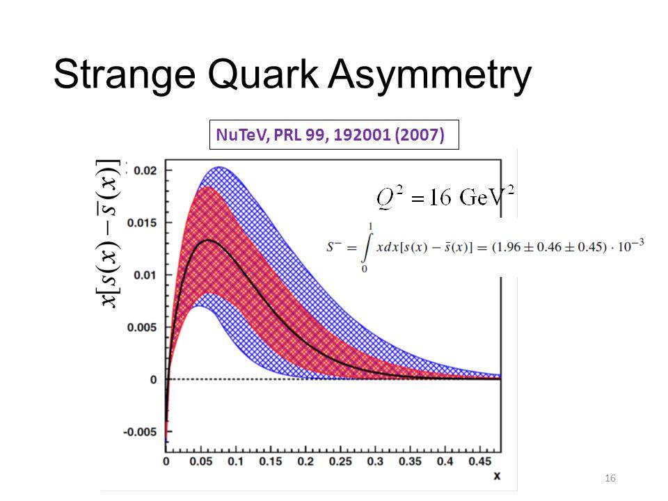 Strange Quark Asymmetry 16 NuTeV, PRL 99, 192001 (2007)