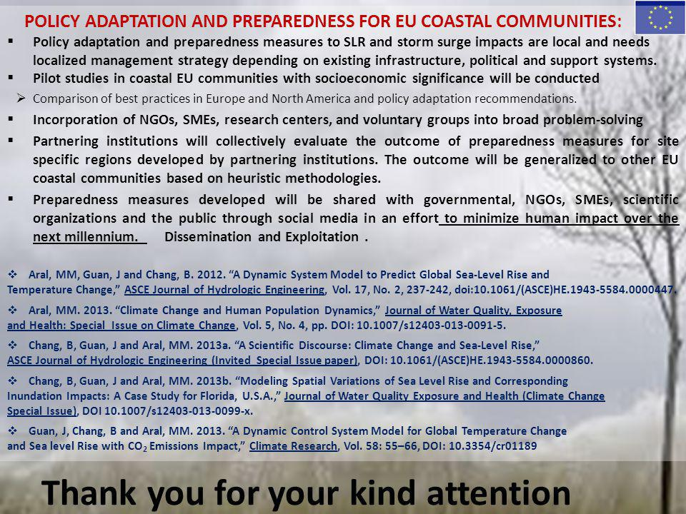 POLICY ADAPTATION AND PREPAREDNESS FOR EU COASTAL COMMUNITIES:  Policy adaptation and preparedness measures to SLR and storm surge impacts are local
