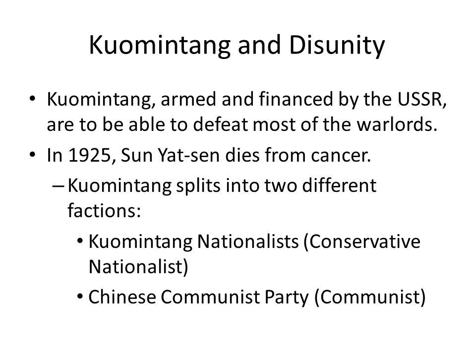 Chang Kai-Shek and the Kuomintang Chang Kai-Shek comes to lead the Kuomintang.