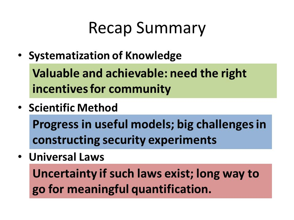 Recap Summary Systematization of Knowledge – Ad hoc point solutions vs.