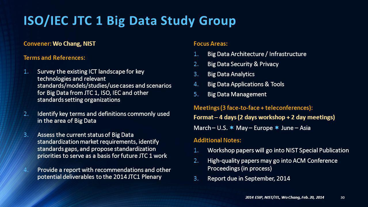 ISO/IEC JTC 1 Big Data Study Group Convener: Wo Chang, NIST Terms and References: 1.Survey the existing ICT landscape for key technologies and relevan
