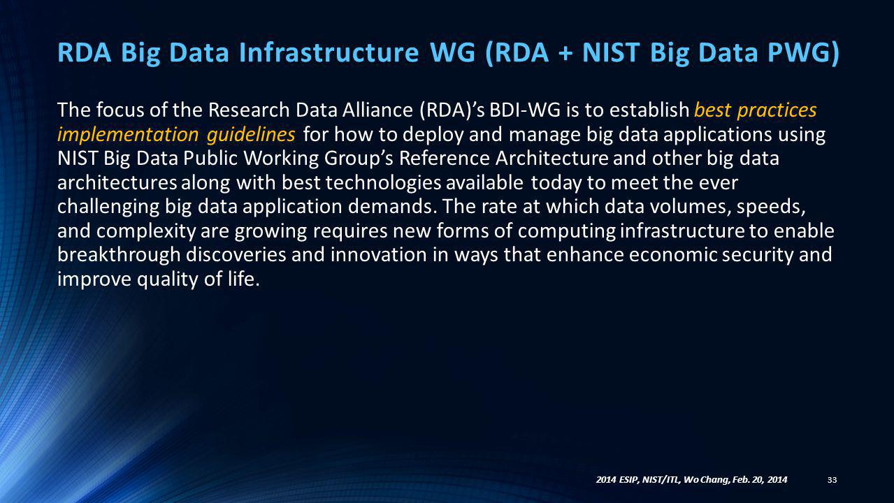 RDA Big Data Infrastructure WG (RDA + NIST Big Data PWG) 33 2014 ESIP, NIST/ITL, Wo Chang, Feb. 20, 2014 The focus of the Research Data Alliance (RDA)