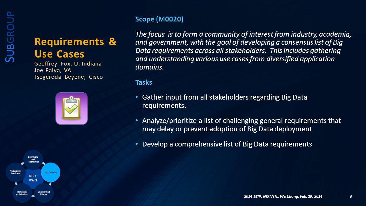 29 N EXT S TEPS & F UTURE A CTIVITIES 2013 Big Data World Congress, NIST/ITL, Wo Chang, Dec.