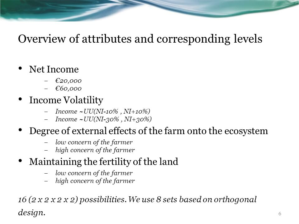 Overview of attributes and corresponding levels Net Income  €20,000  €60,000 Income Volatility  Income ~UU(NI-10%, NI+10%)  Income ~UU(NI-30%, NI+30%) Degree of external effects of the farm onto the ecosystem  low concern of the farmer  high concern of the farmer Maintaining the fertility of the land  low concern of the farmer  high concern of the farmer 16 (2 x 2 x 2 x 2) possibilities.